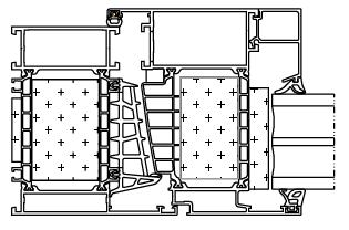 Przekrój okna aluminiowego Aluprof MB104 Aero