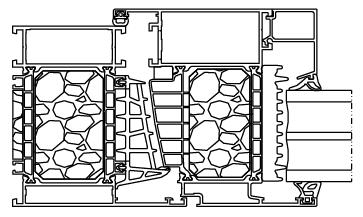 Przekrój okna aluminiowego Aluprof MB104 SI