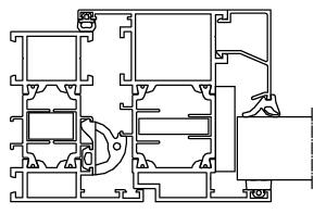 Okno aluminiowe Aluprof MB70 przekrój techniczny