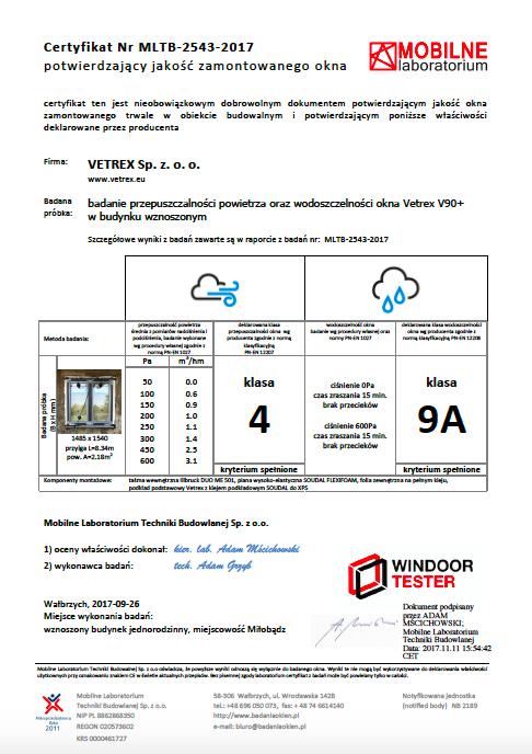 Certyfikat dla Okna Vetrex V90+
