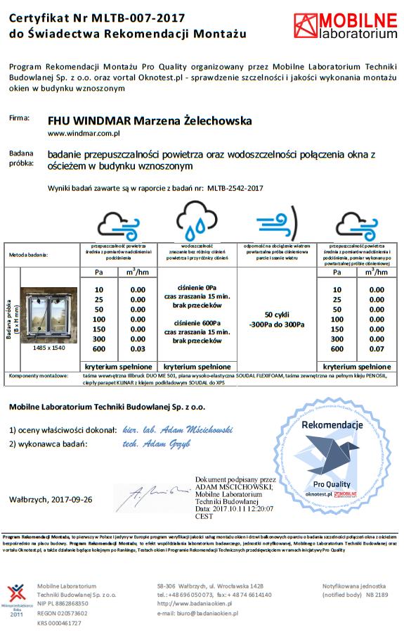 Certyfikat poświadczający wykonanie oraz wyniki osiągnięte w badaniu szczelności montażu