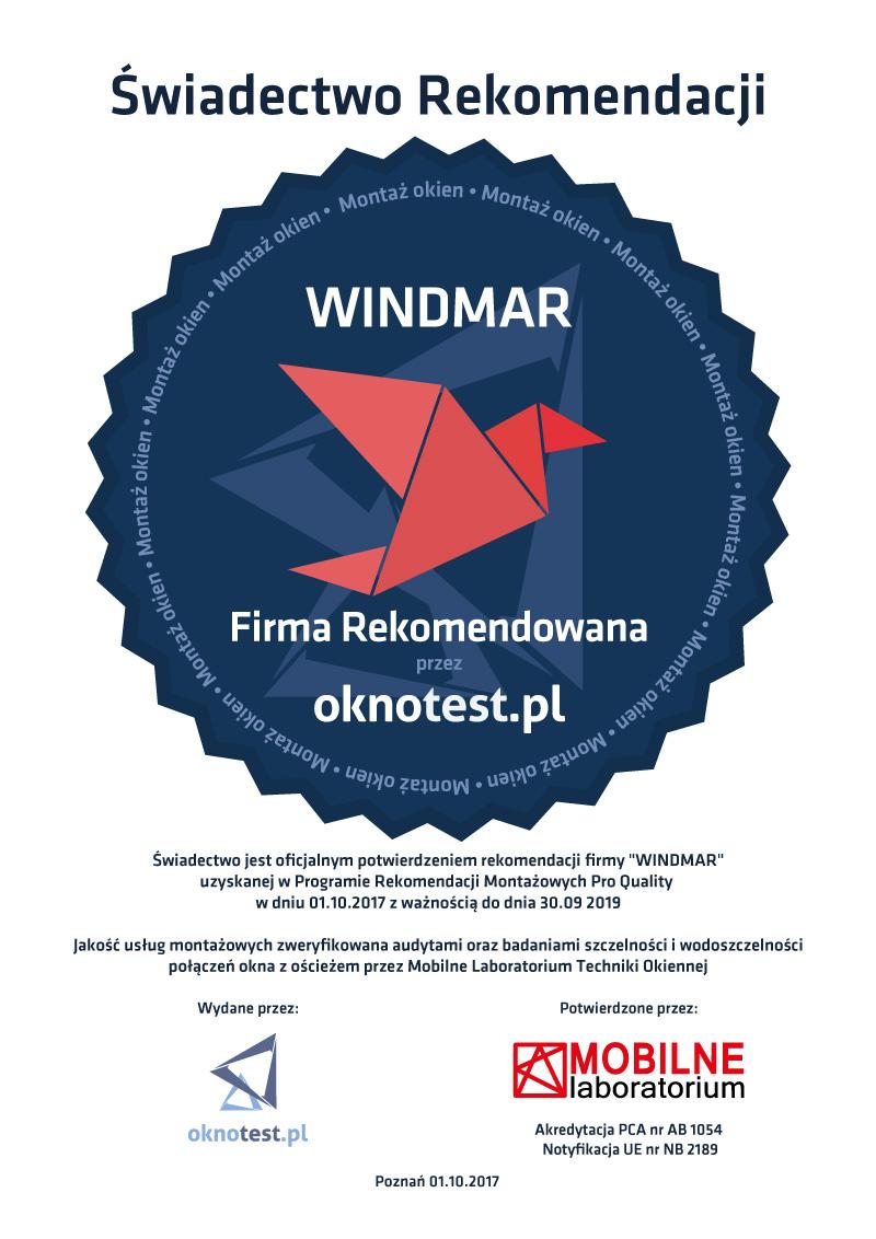 Świadectwo Rekomendacji Montażu dla Windmar